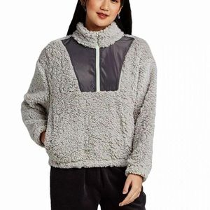 Wild Fable Quarter Zip Sherpa Pullover Gray XL